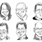 Head and shoulders thumbnail caricatures for websites